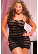 Riot Girly- Net Striped Dress -blk Qs